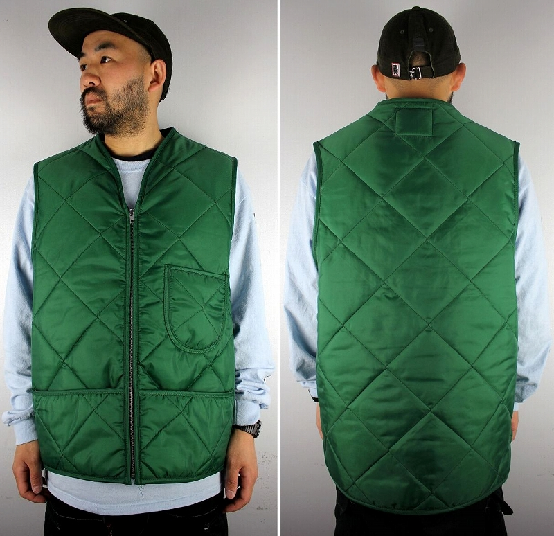 SNAP'N'WEAR / QUILTED NYLON VEST with KIDNEY FLAP / green
