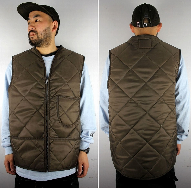 SNAP'N'WEAR / QUILTED NYLON VEST with KIDNEY FLAP / brown
