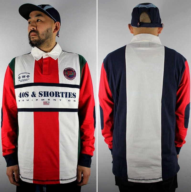 """40S & SHORTIES / """"UPTOWN"""" RUGBY SHIRT / white×red×navy×green"""