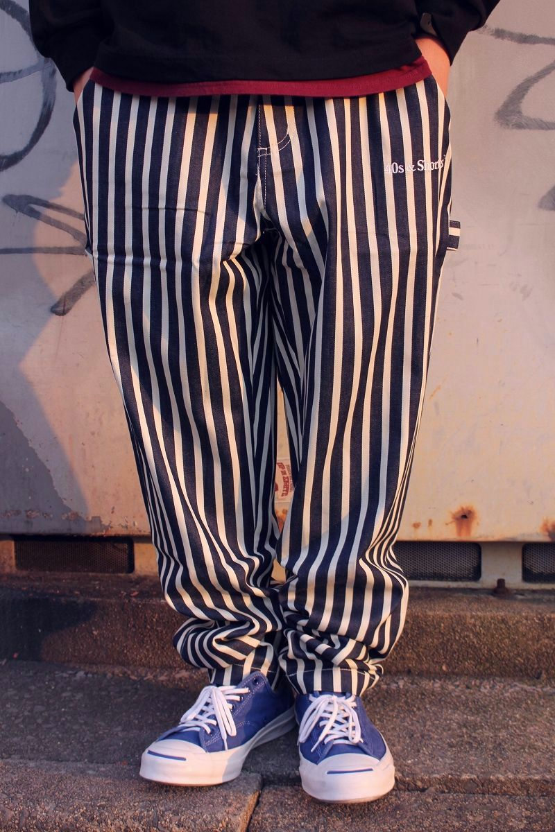 "40S & SHORTIES / ""NEW JACK"" STRIPED  WORK PANTS / navy×white"