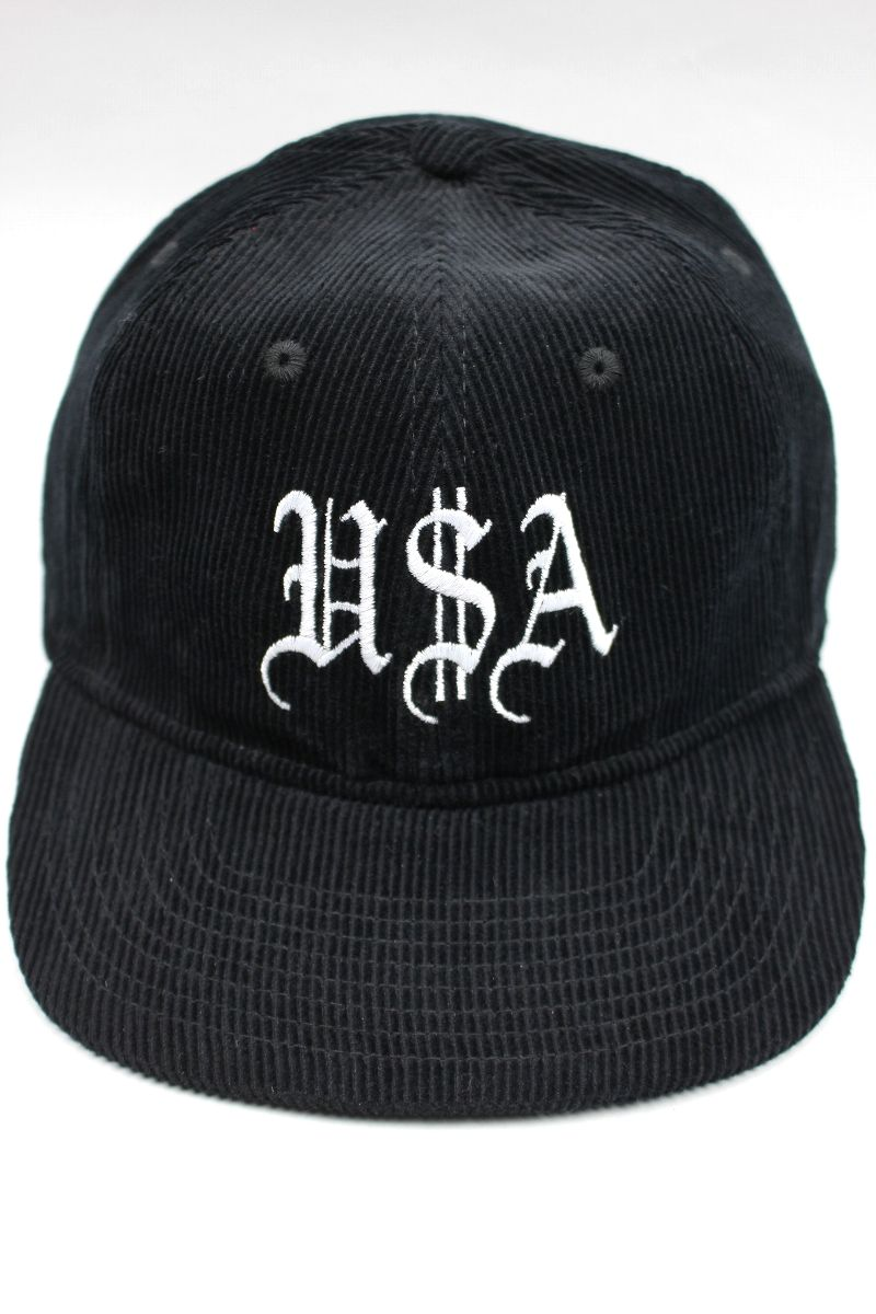 "40S & SHORTIES / ""USA"" CORDUROY STRAPBACK CAP / black"