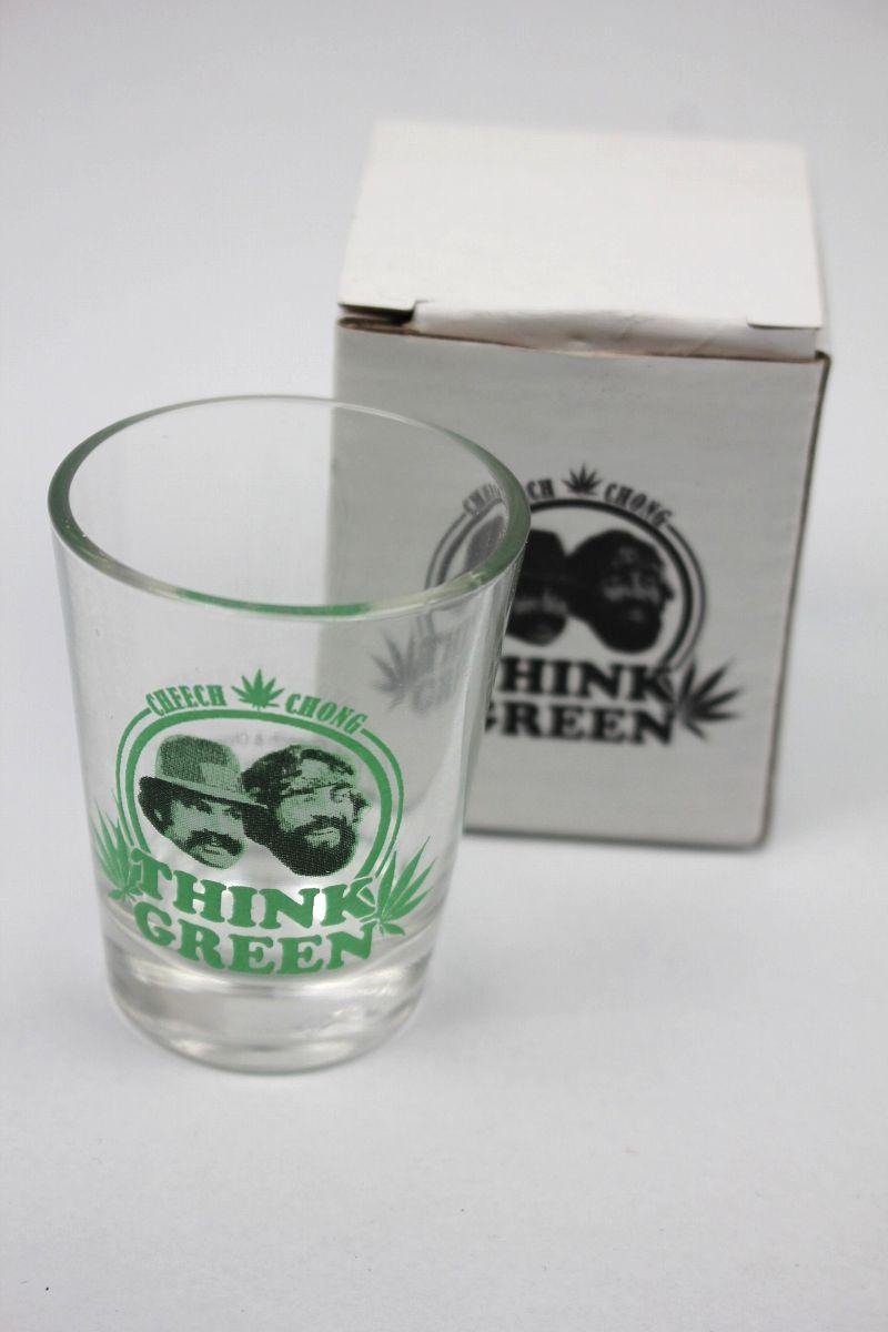 """CHEECH & CHONG / """"THINK GREEN"""" SHOT GLASS"""