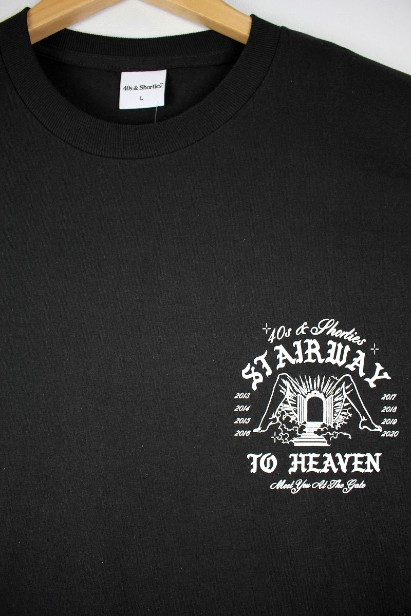 "40S & SHORTIES / ""STAIRWAY "" Tee / black"