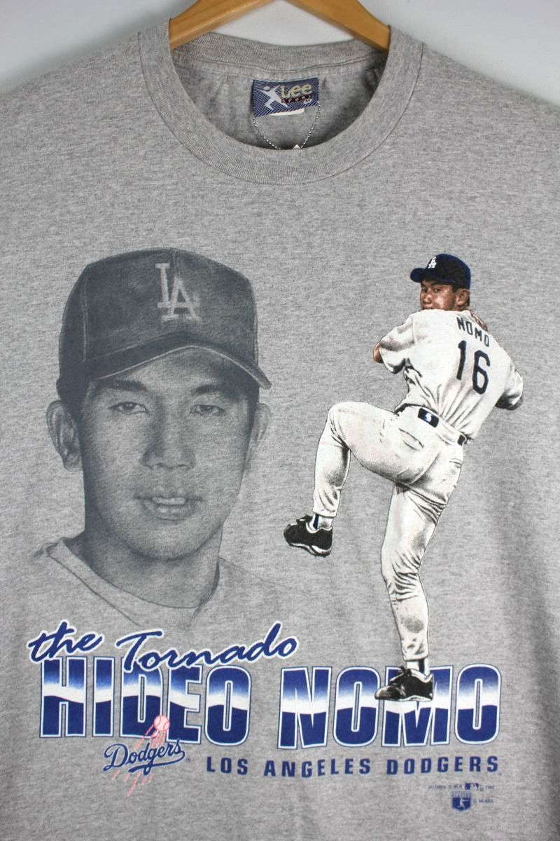 "USED!!! NUTMEG MILLS / ""HIDEO NOMO - LA DODGERS"" Tee (90'S) / heather grey"