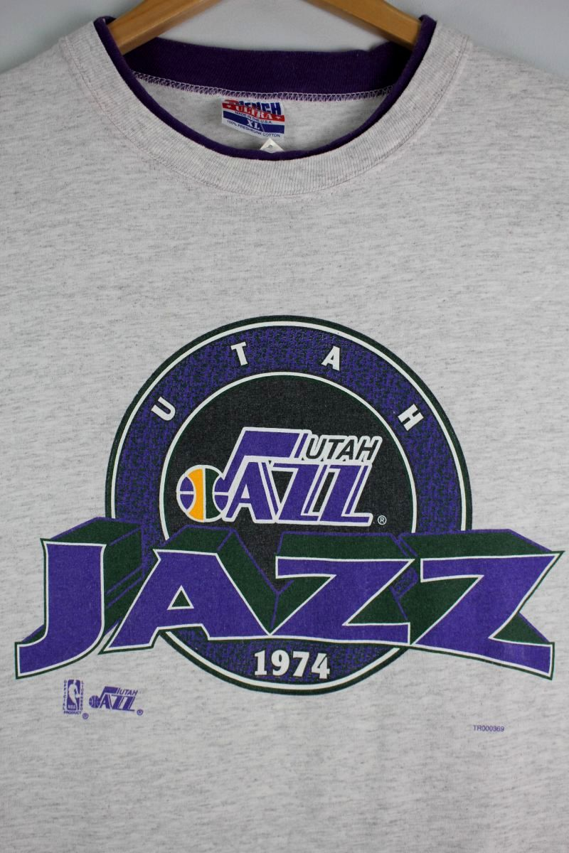 "USED!!! NBA OFFICIAL / ""UTAH JAZZ"" Tee (90'S) / light heather grey×purple"
