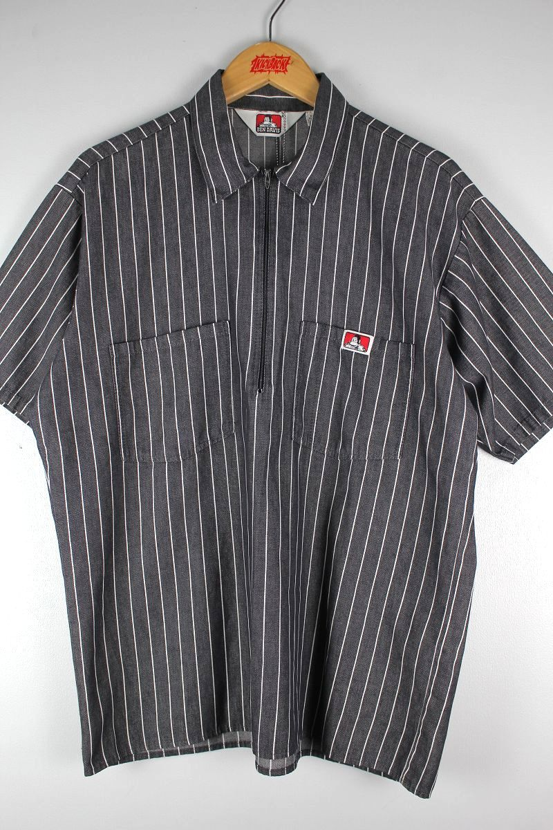 USED!!! BEN DAVIS / HALF-ZIP HICKORY STRIPE SS WORK SHIRTS (90'S) / charcoal×white