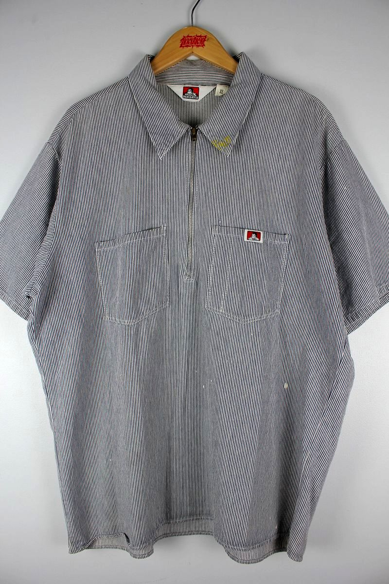 USED!!! BEN DAVIS / HALF-ZIP HICKORY STRIPE SS WORK SHIRTS (90'S) / navy×white