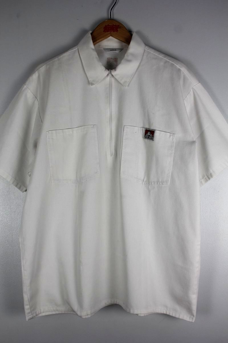 USED!!! BEN DAVIS / HALF-ZIP SS WORK SHIRTS (90'S) / white