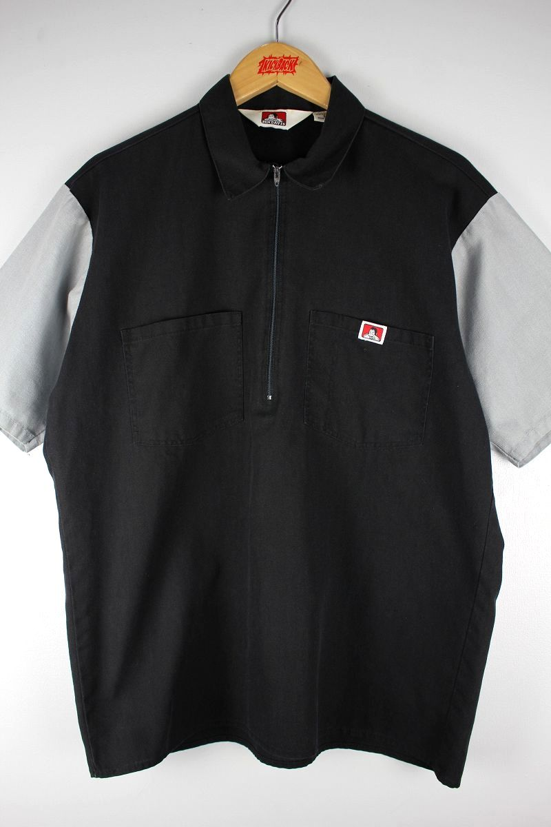 USED!!! BEN DAVIS / HALF-ZIP 2-TONE SS WORK SHIRTS (90'S) / black×grey