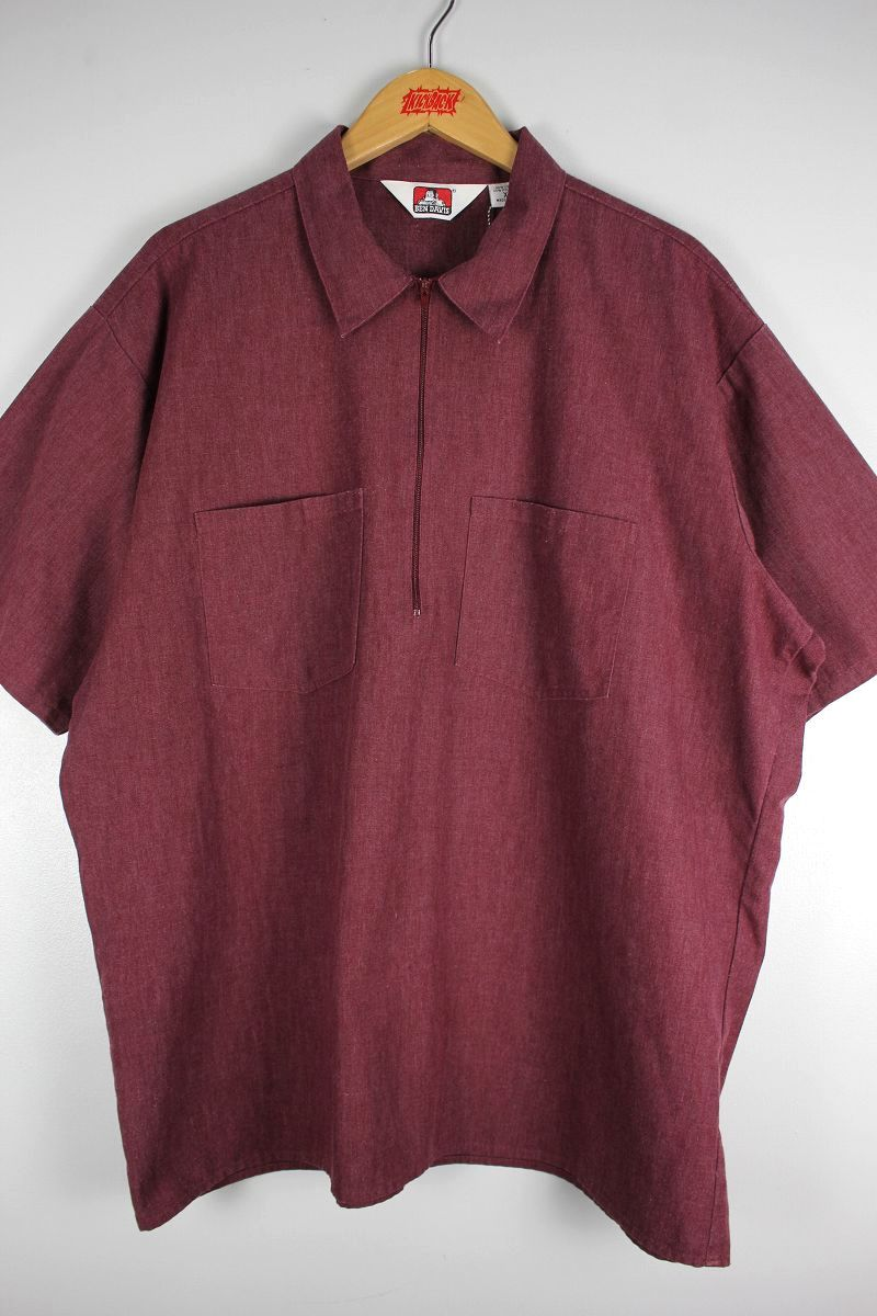 USED!!! BEN DAVIS / HALF-ZIP 2-TONE SS WORK SHIRTS (90'S) / heather maroon