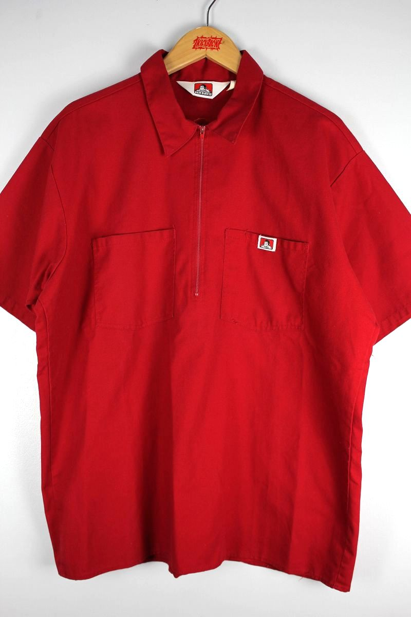 USED!!! BEN DAVIS / HALF-ZIP SS WORK SHIRTS (90'S) / red