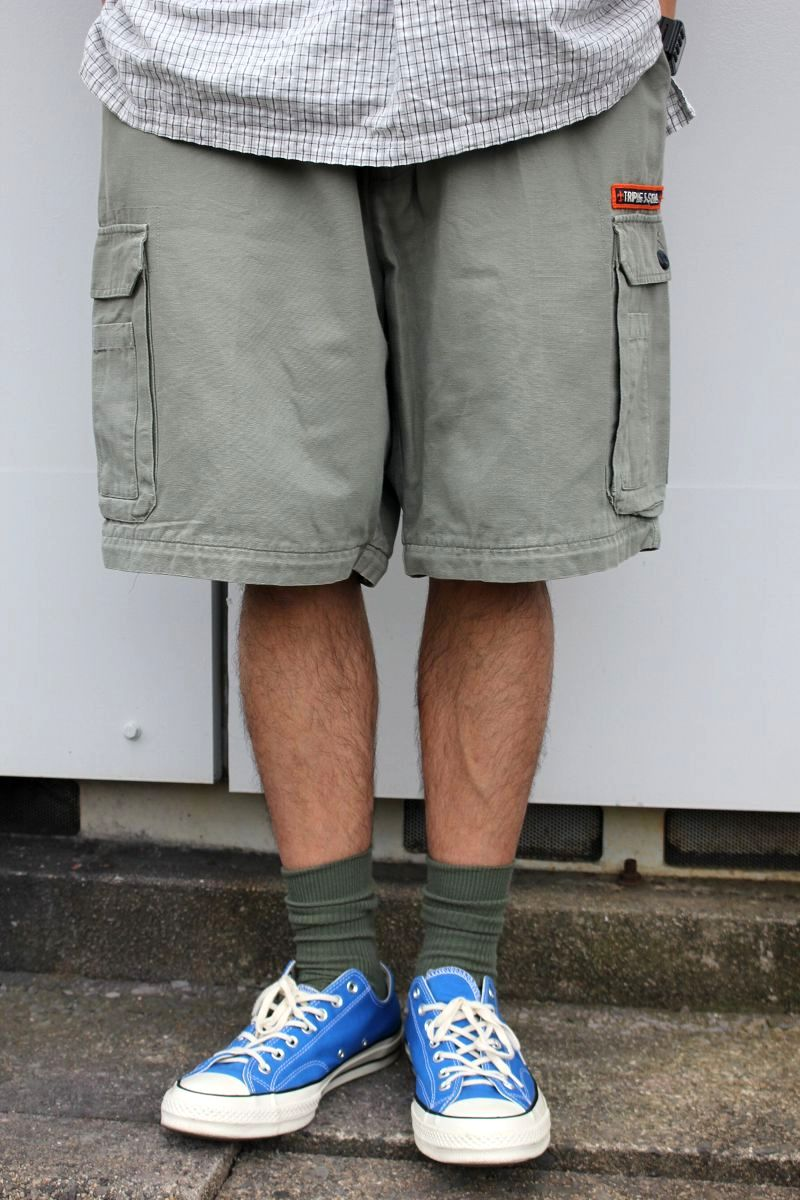 USED!!! TRIPLE FIVE SOUL / CARGO SHORTS (90'S) / khaki