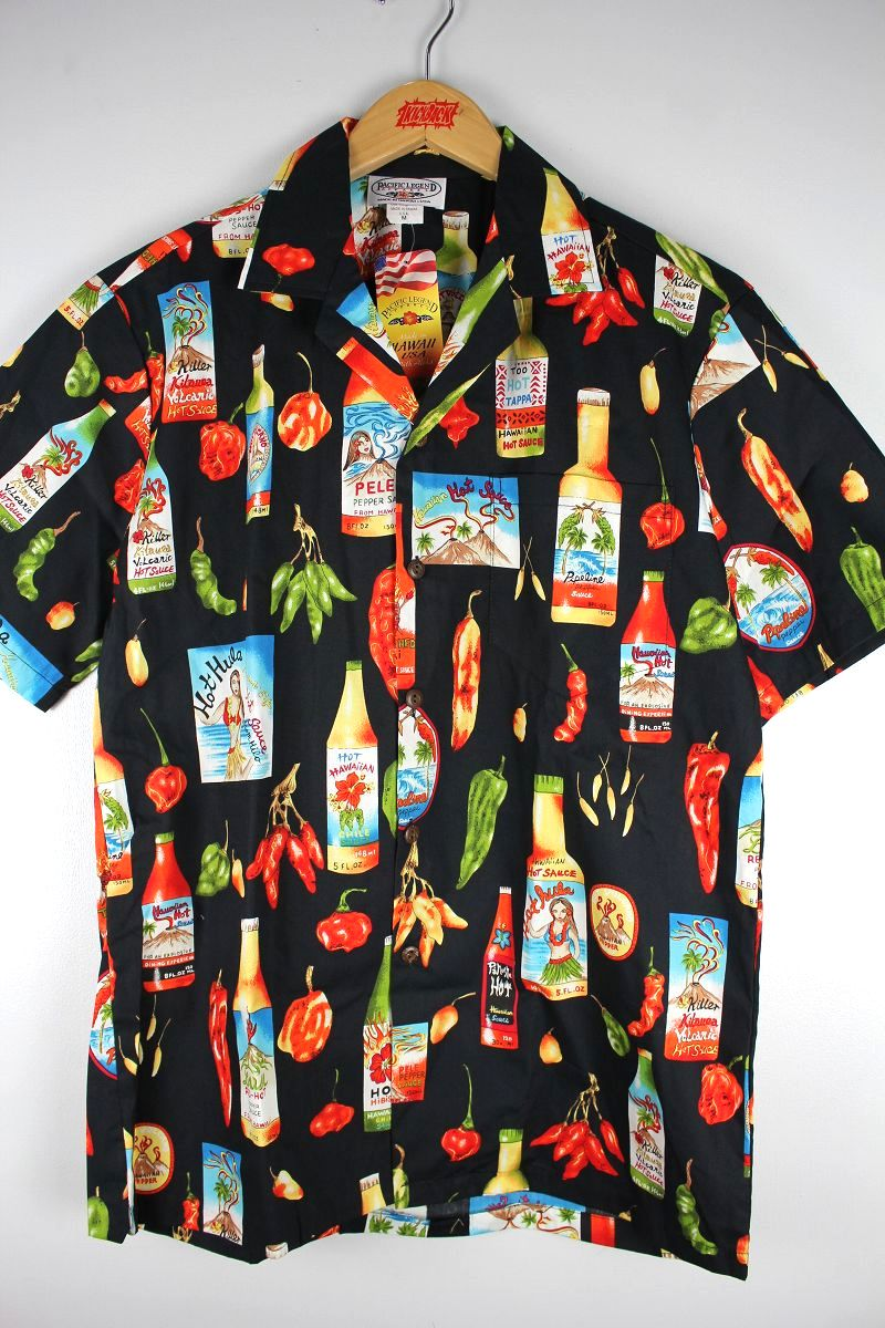 "PACIFIC LEGEND / ""HOT SAUCE"" ALOHA SHIRTS / black"