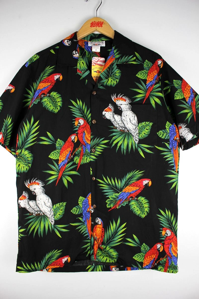 "PACIFIC LEGEND / ""PARROT"" ALOHA SHIRTS / black"