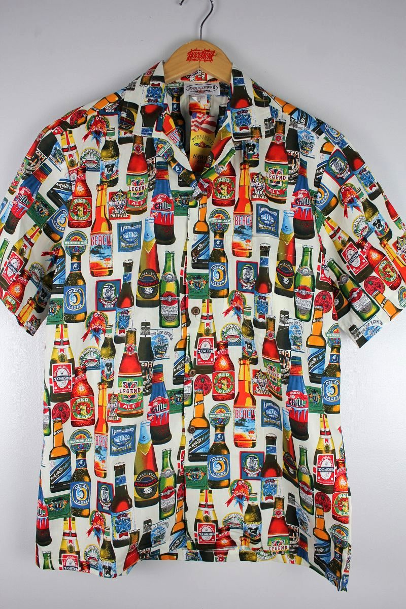 "PACIFIC LEGEND / ""BEER"" ALOHA SHIRTS / white"