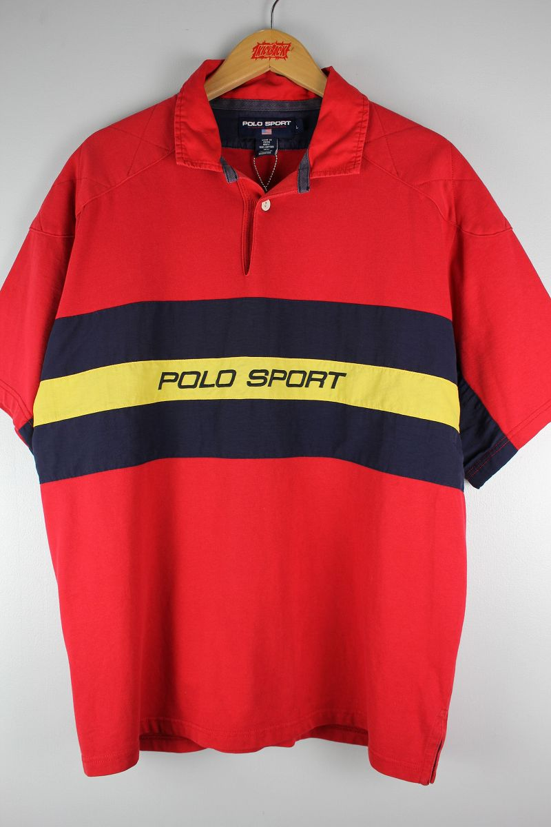 USED!!! POLO SPORT / SS RUGBY SHIRTS (90'S) / red×navy×yellow