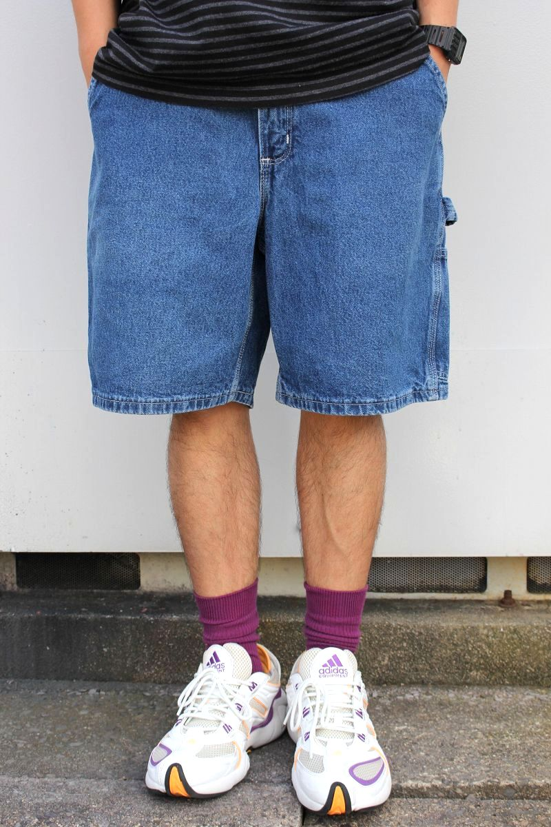 USED!!! CARHARTT / DENIM PAINTER SHORTS (00'S) / mid stone wash indigo