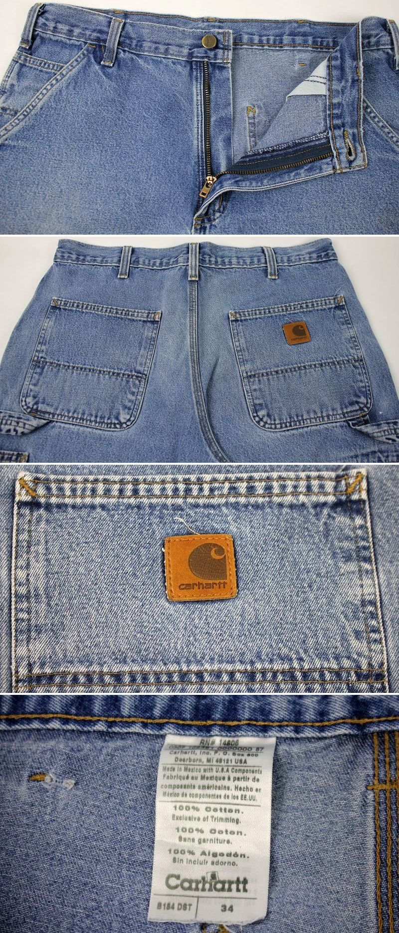 USED!!! CARHARTT / PAINTER SHORTS (90'S) / stone wash indigo