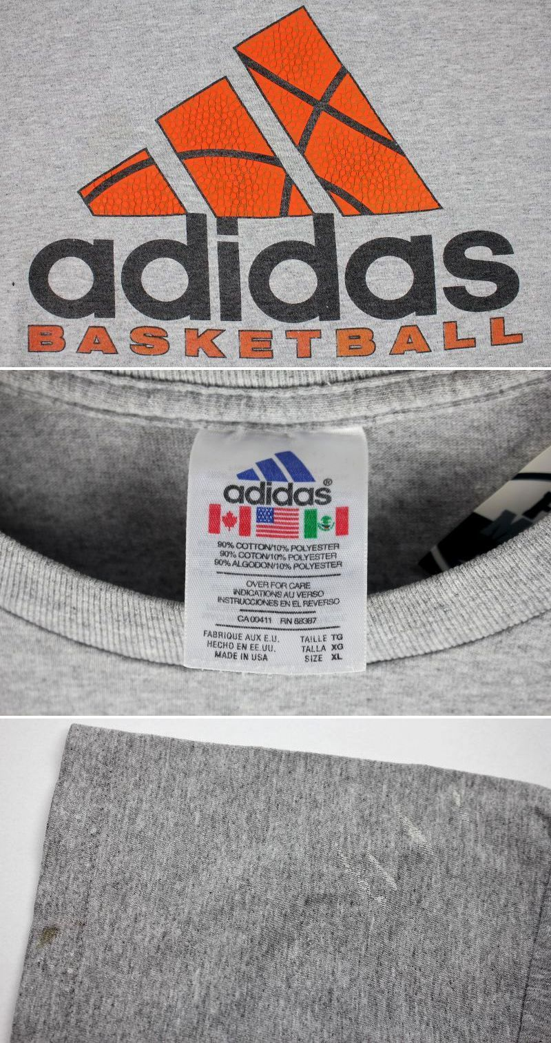 USED!!! adidas BASKETBALL / LOGO Tee (90'S) / heather grey
