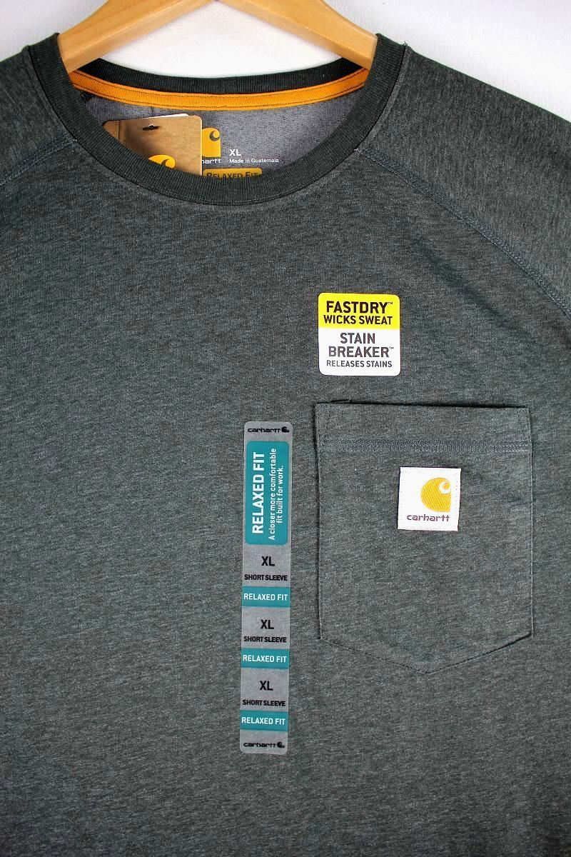 CARHARTT / FORCE COTTON DELMONT Tee / charcoal