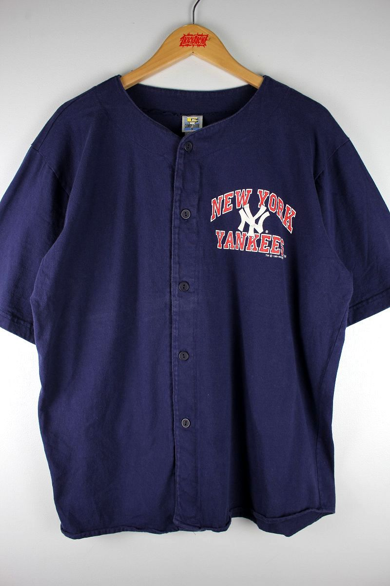 USED!!! NEWYORK YANKEES / COTTON BASEBALL SHIRTS (90'S) / navy