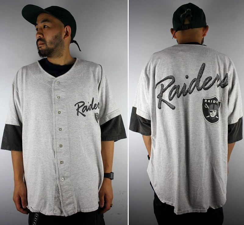 USED!!! LOS ANGELS RAIDERS / COTTON BASEBALL SHIRTS (90'S) / light heather grey×black