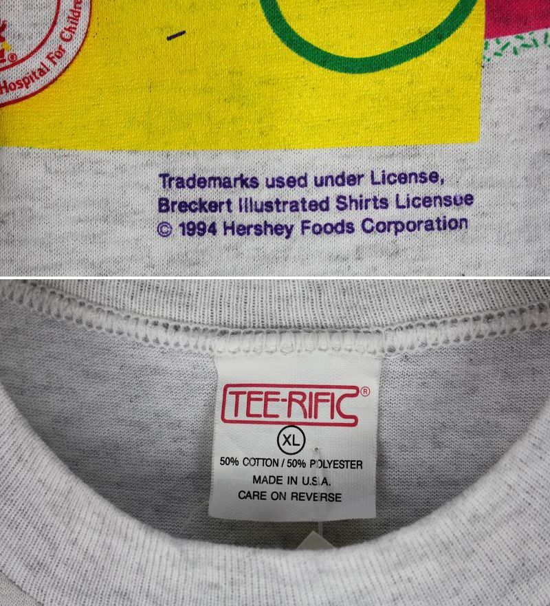USED!!! HERSHEY'S / OFFICIAL Tee (90'S) / light heather grey