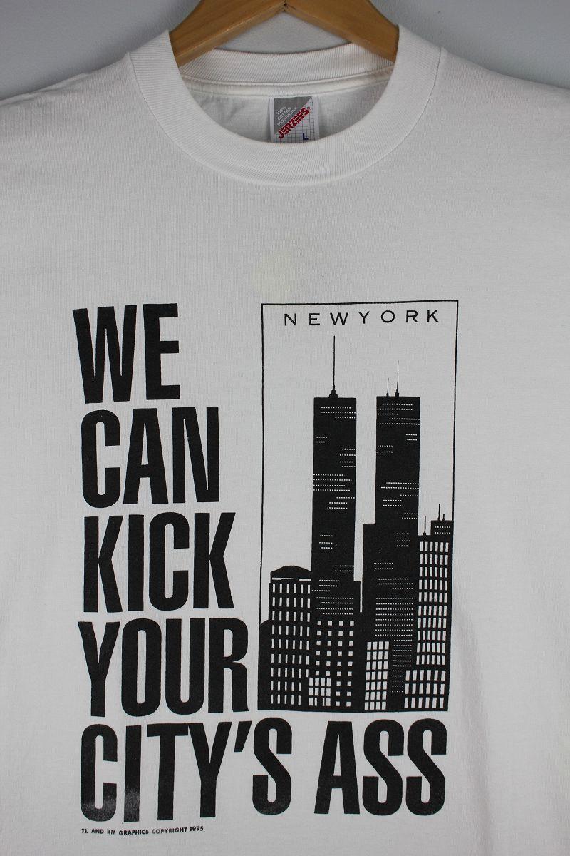 "USED!!! NO BRAND / ""NEWYORK"" SOUVENIR Tee (90'S) / white"