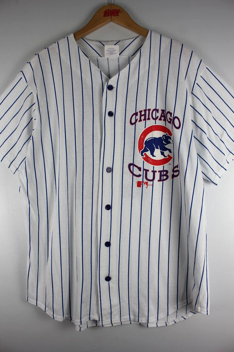 "USED!!! MAJESTIC / ""CHICAGO CUBS -SOSA-"" STRIPED BASEBALL SHIRTS (90'S) / white×blue"