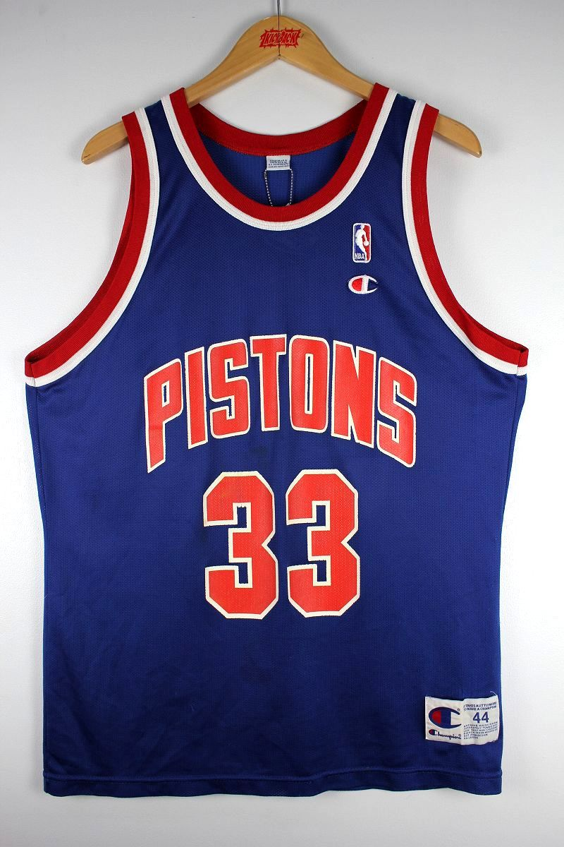 "USED!!! CHAMPION / ""DETROIT PISTONS - GRANT HILL"" BASKETBALL SHIRTS (90'S) / blue×red×white"