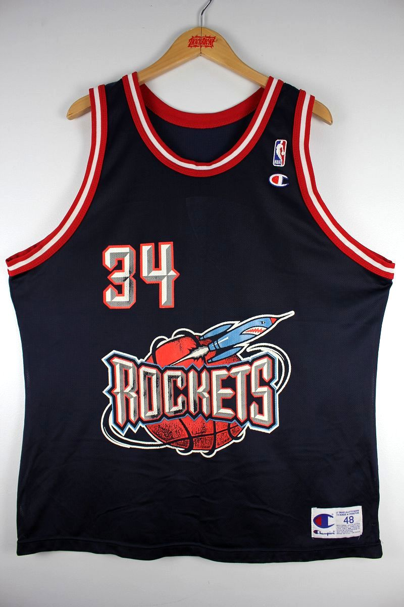 "USED!!! CHAMPION / ""HOUSTON ROCKETS - OLAJUWON"" BASKETBALL SHIRTS (90'S) / navy×red×white"