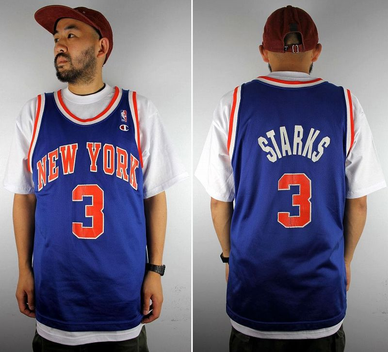 "USED!!! CHAMPION / ""NEWYORK KNICKS - STARKS"" BASKETBALL SHIRTS (90'S) / blue×orange×white"