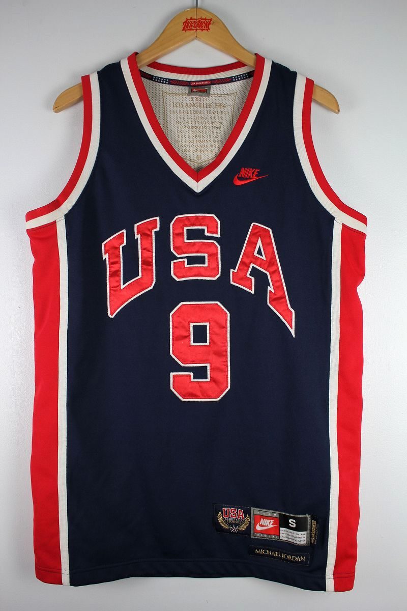 "USED!!! NIKE / ""1984 LOS ANGELS OLYMPICS - JORDAN"" BASKETBALL SHIRTS (90'S) / navy×red×white"