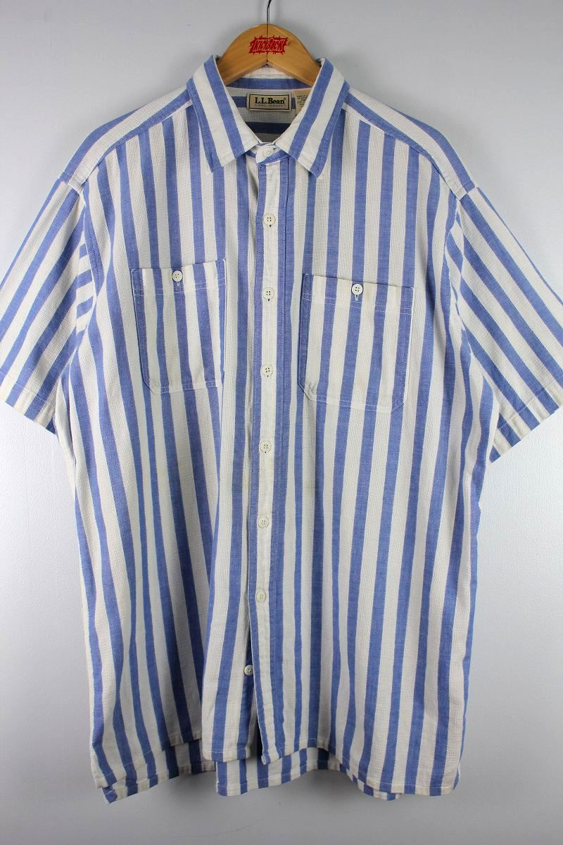 USED!!! L.L.BEAN / STRIPED SS SHIRTS (90'S) / light blue×white