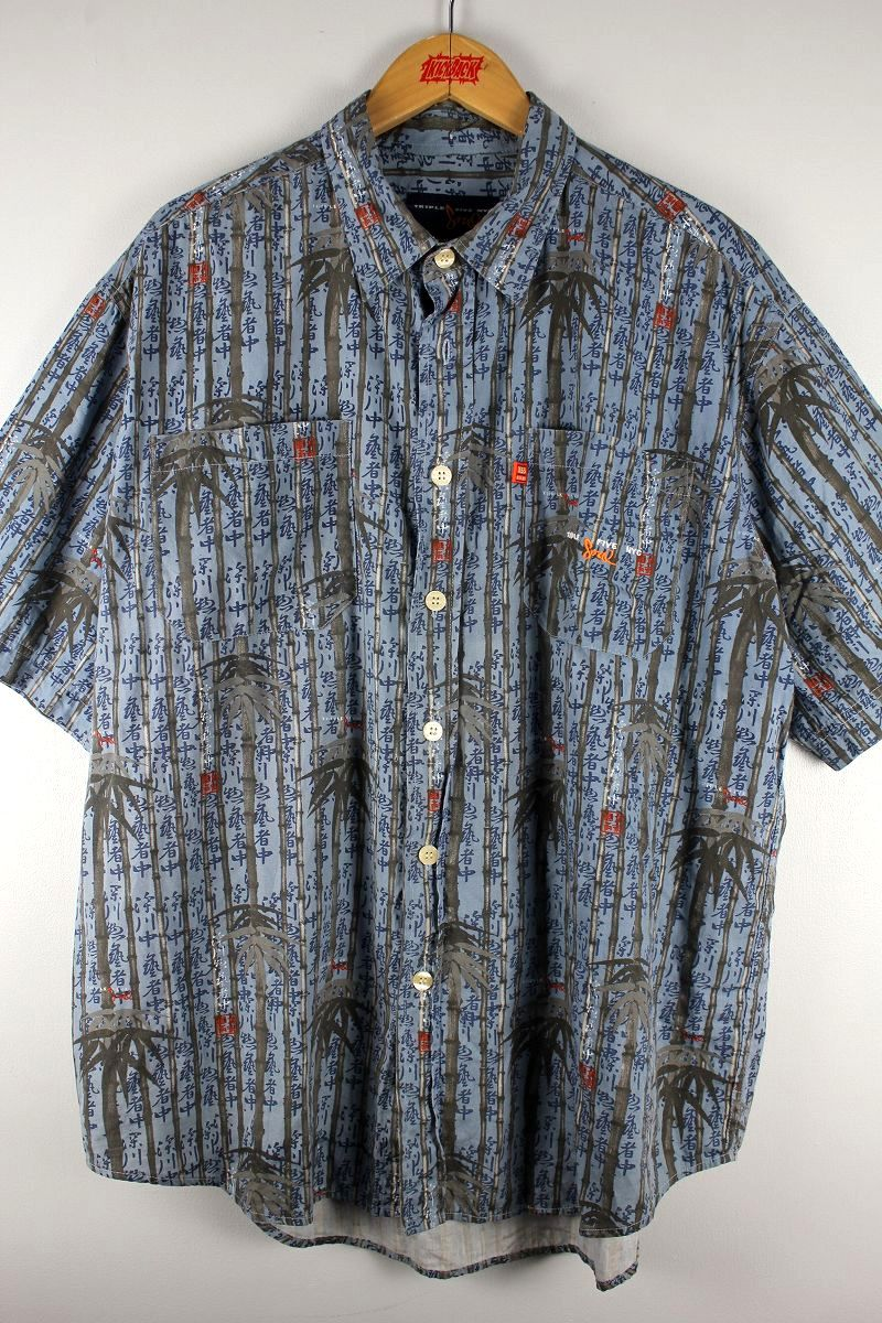 "USED!!! TRIPLE FIVE SOUL / ""BAMBOO"" SS SHIRTS (90'S) / blue cheese"