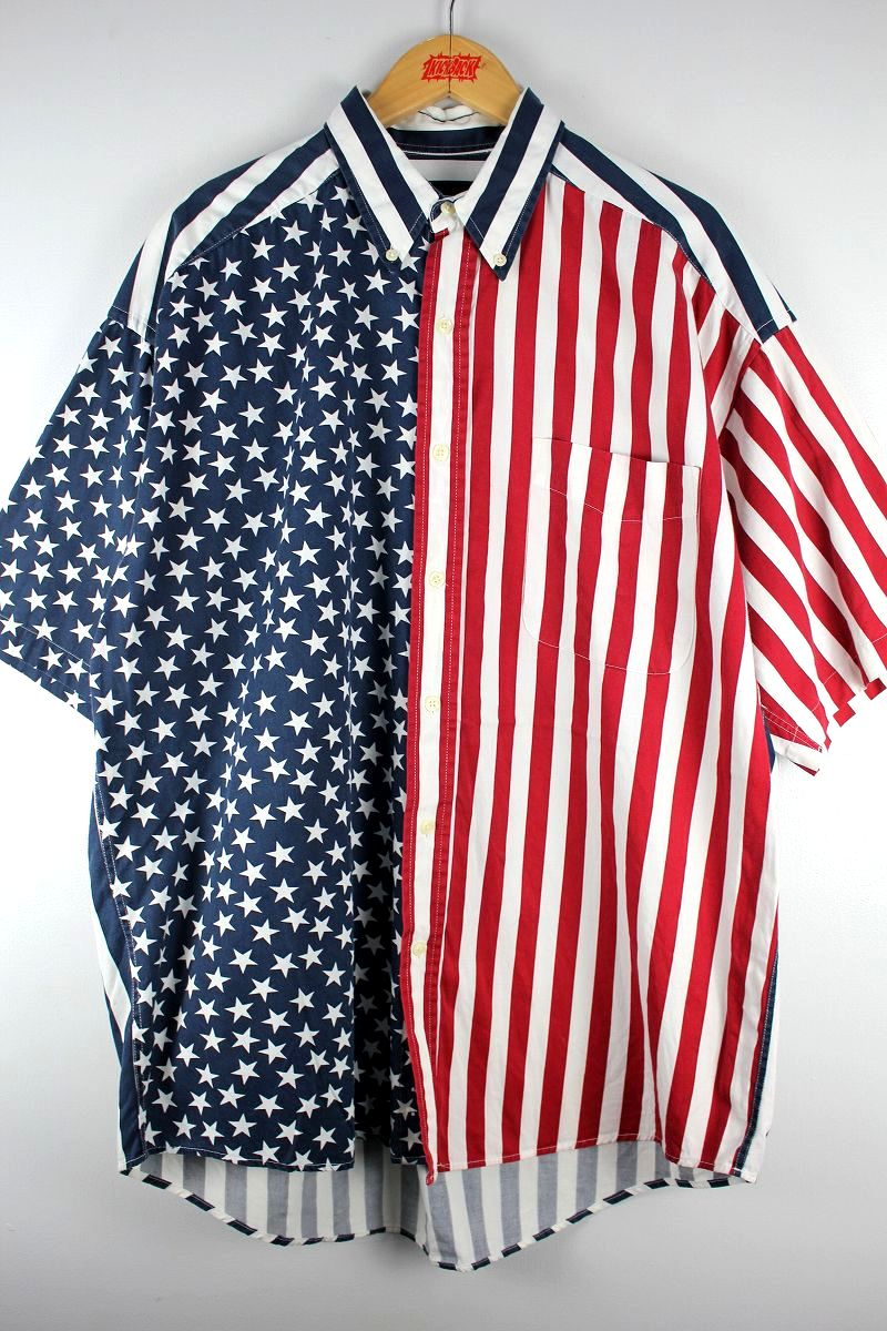 "USED!!! STRUCTURE / ""STARS&STRIPES"" SS BUTTON-DOWN SHIRTS (90'S) / white×navy×red"