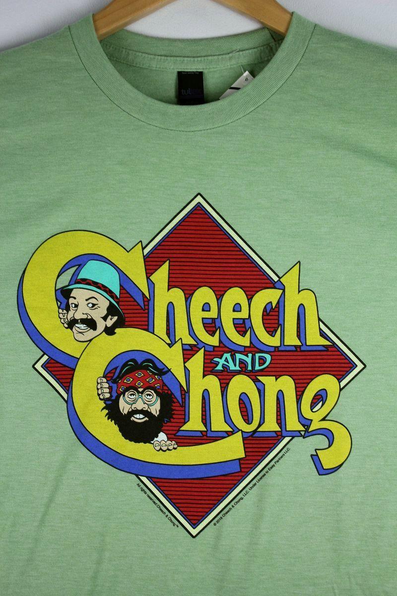 """CHEECH & CHONG / """"CARICATURE"""" Tee / heather green"""