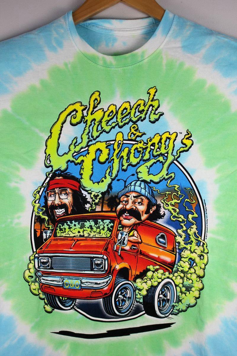 """CHEECH & CHONG / """"SMOKIN' RIDE"""" TIE-DYE Tee / light blue×yellow green"""