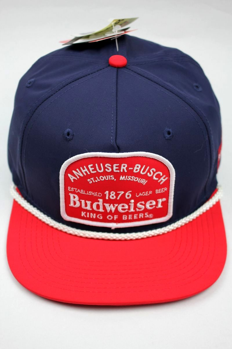 BUDWEISER / RED PATCH SNAPBACK CAP / navy×red