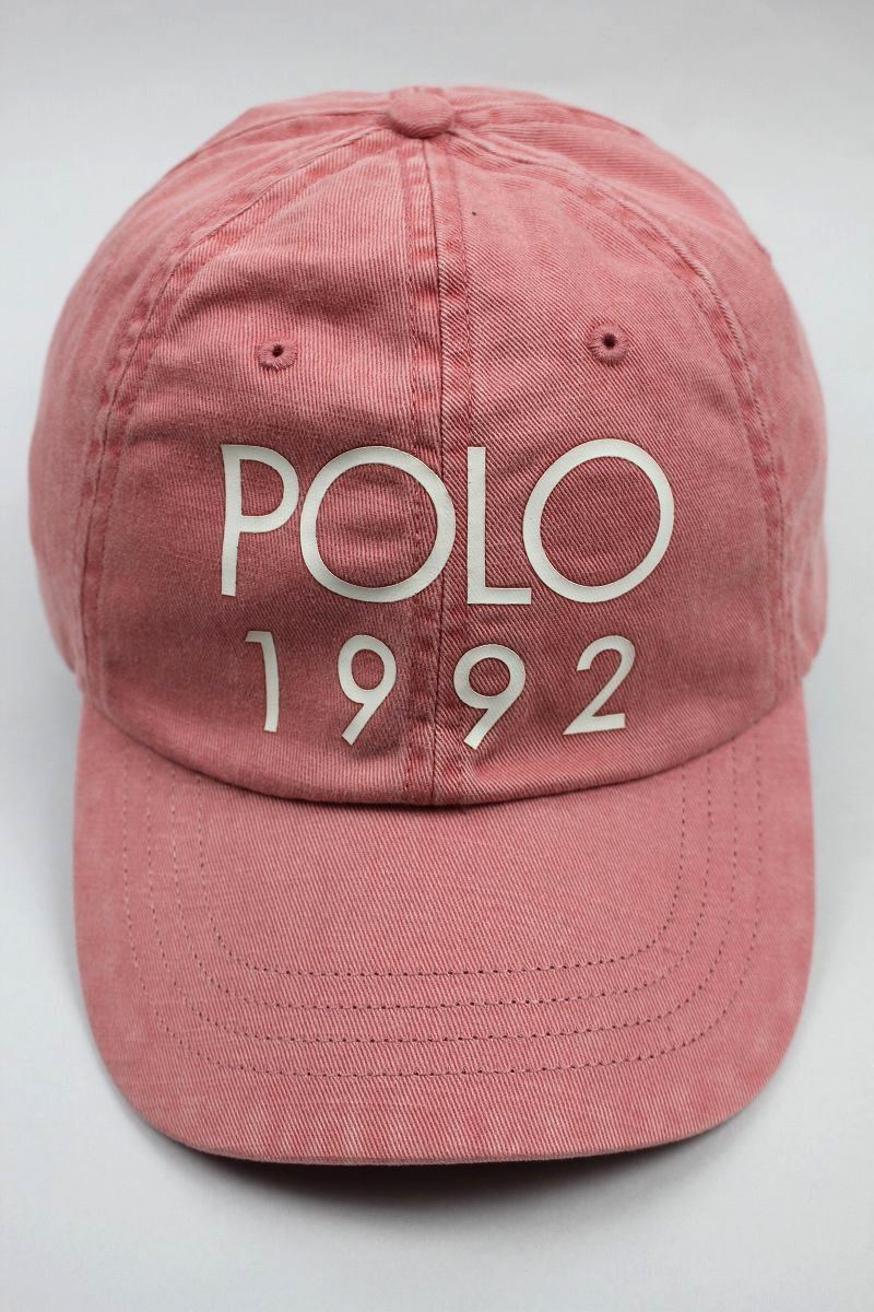 "POLO RALPH LAUREN / ""POLO 1992"" STRAPBACK CAP / washed pink"
