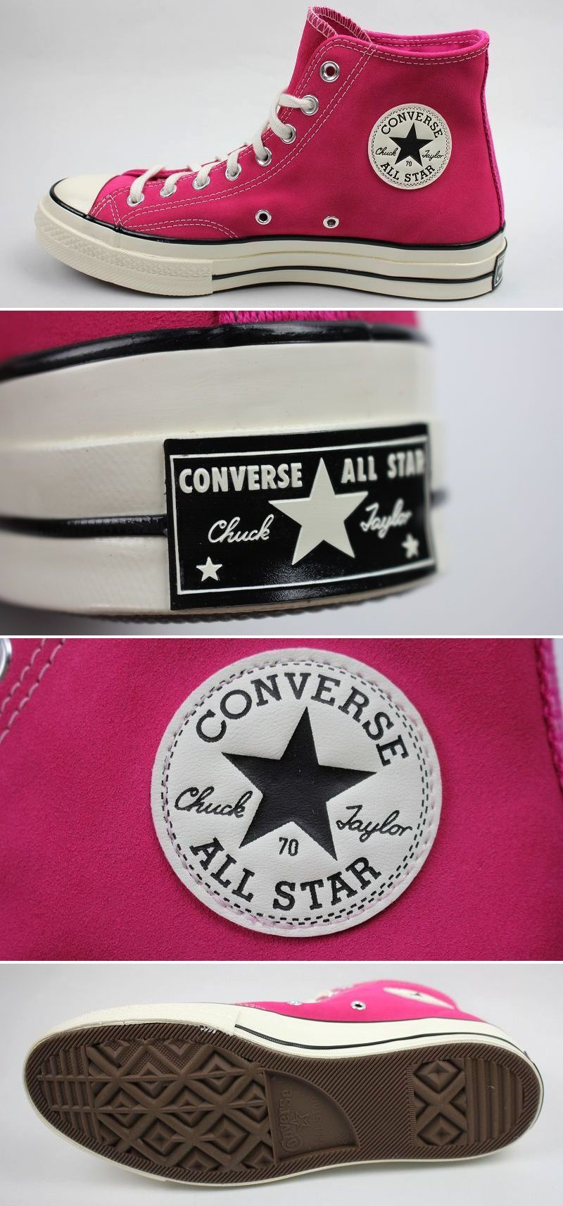 CONVERSE USA / CHUCK 70 HI SUEDE / deep pink×white