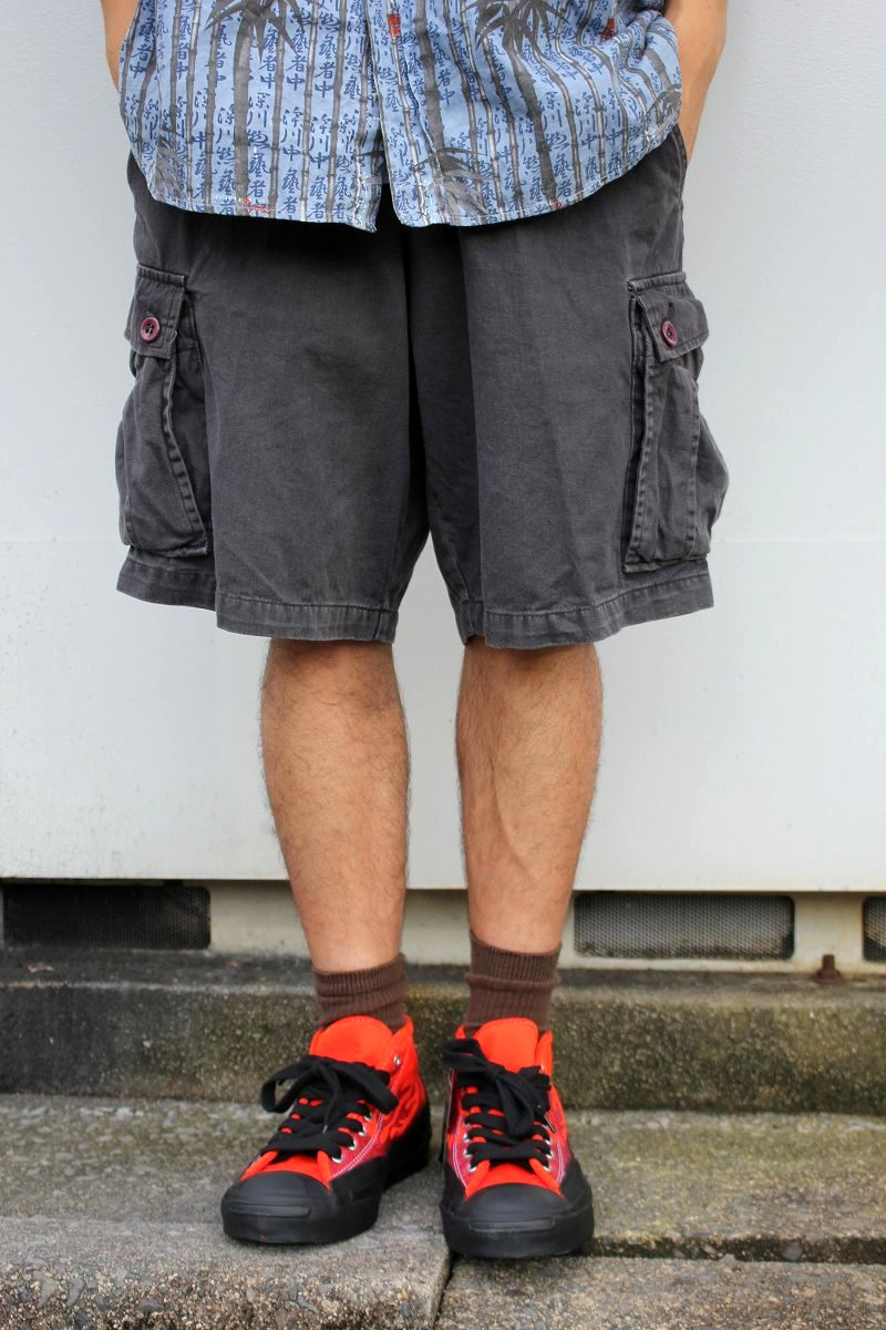 USED!!! STUSSY / CARGO SHORTS (90'S) / washed black