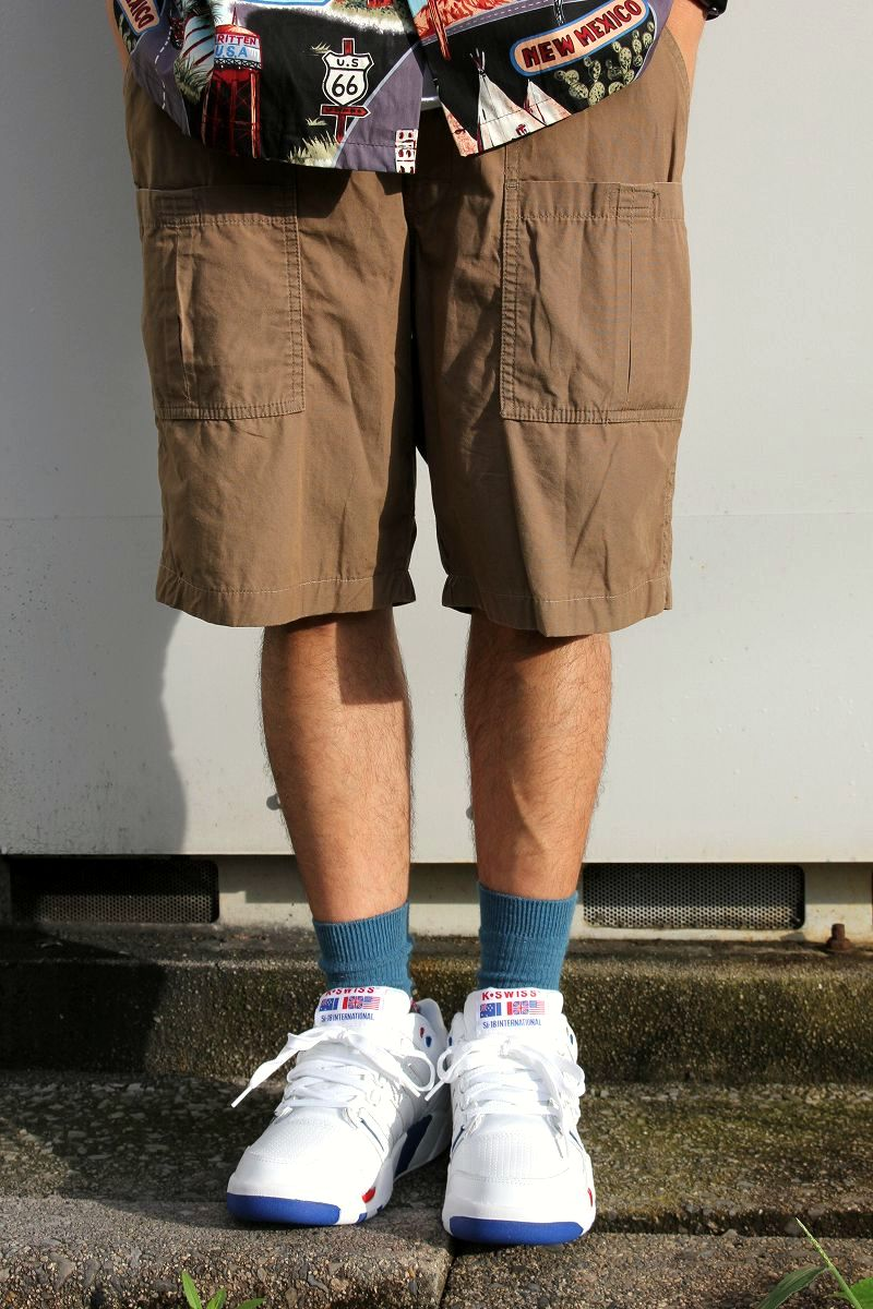USED!!! STUSSY / MILITARY SHORTS (90'S) / light brown