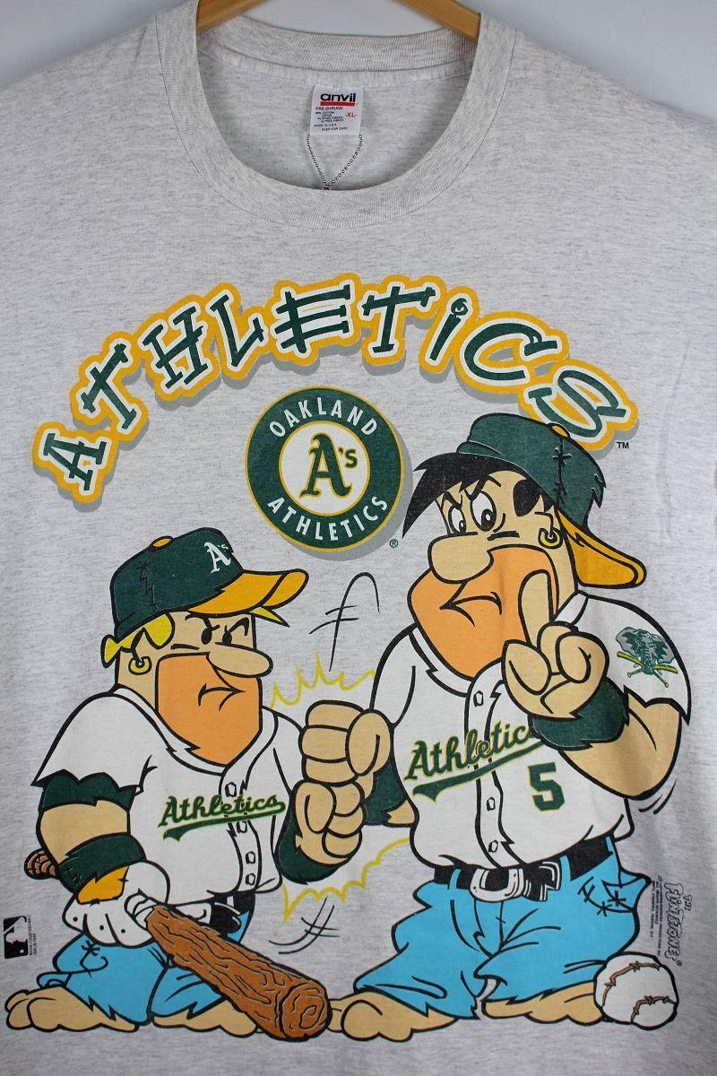 "USED!!! MLB×THE FLINTSTONES / ""OAKLAND ATHLETICS"" Tee (90'S) / light heather grey"