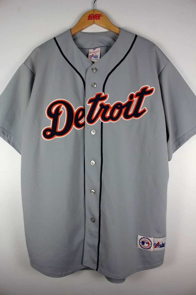 "USED!!! MAJESTIC / ""DETROIT TIGERS"" BASEBALL JERSEY (00'S) / grey×navy"