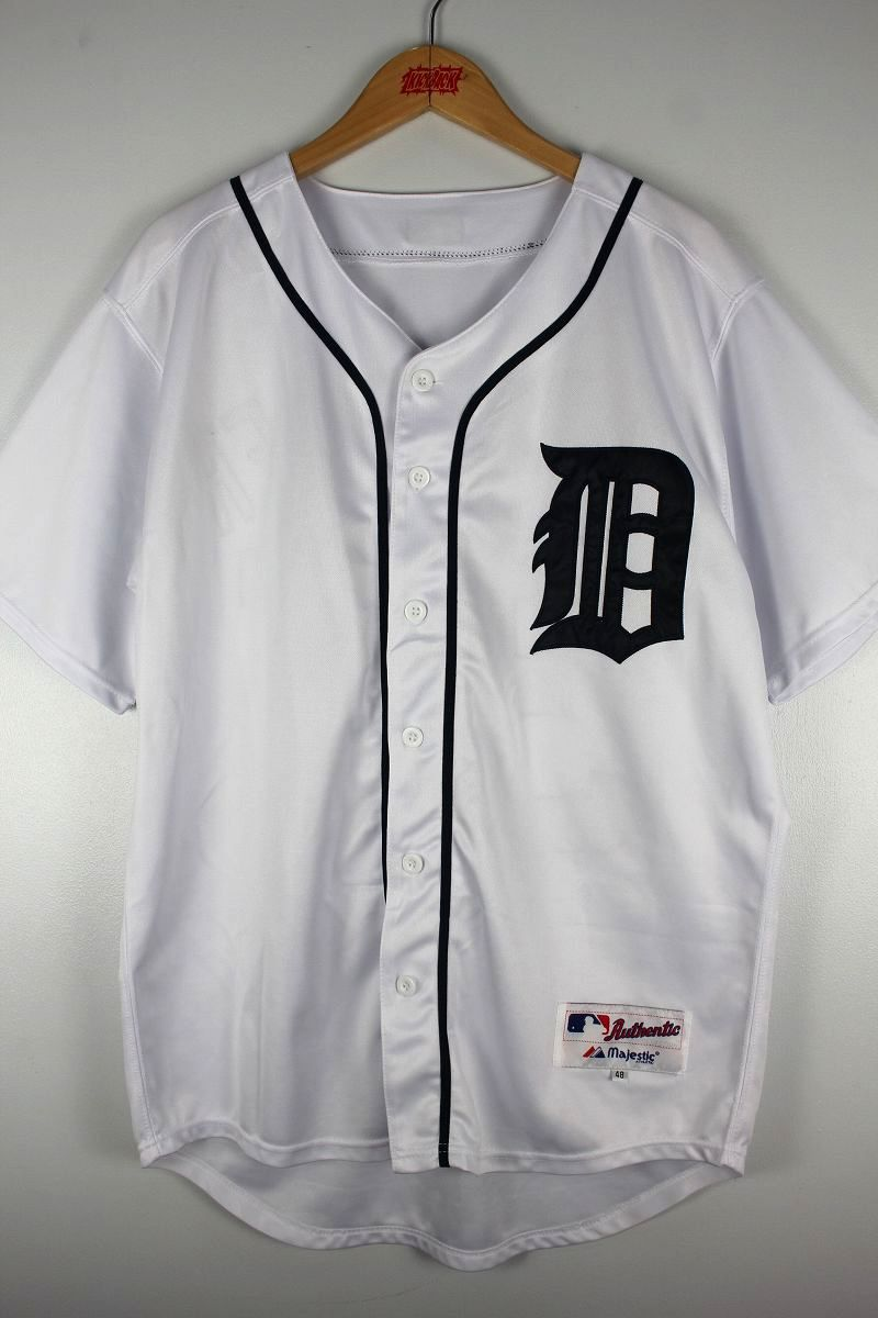 "USED!!! MAJESTIC / ""DETROIT TIGERS -VERLANDER-"" BASEBALL JERSEY / white×navy"