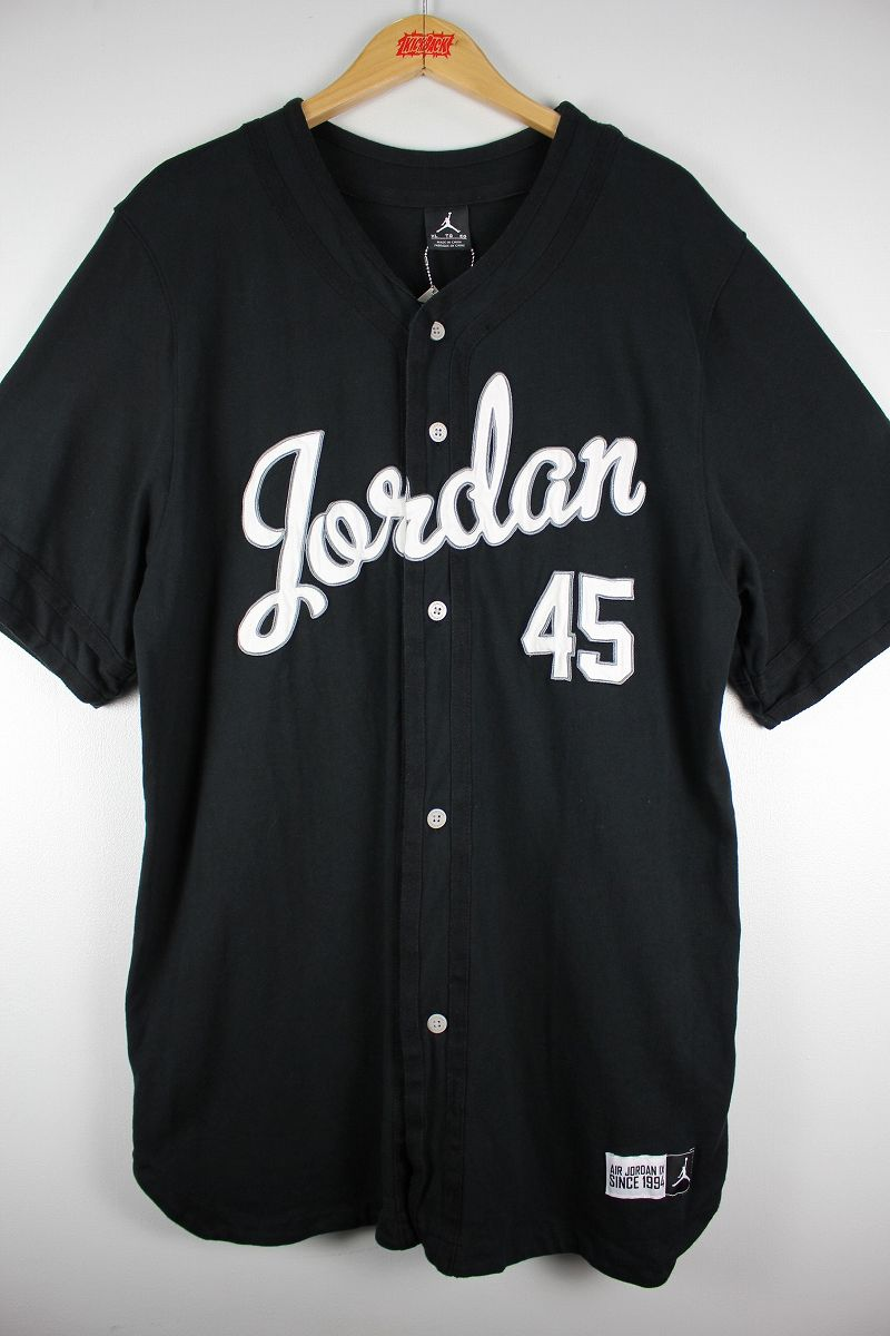 "USED!!! AIR JORDAN / ""JORDAN IX"" COTTON BASEBALL JERSEY / black"