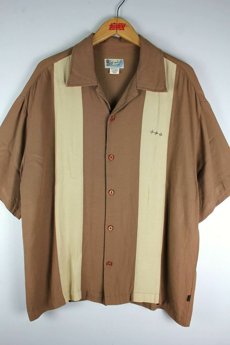 USED!!! BC ETHIC / OPEN COLLAR SS RAYON SHIRTS (90'S) / light brown×beige