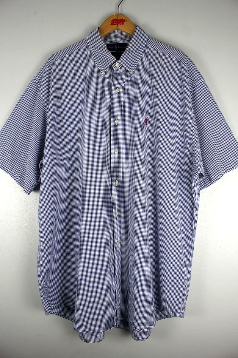 USED!!! POLO RALPH LAUREN / SS PLAID BUTTON DOWN SHIRTS (90'S) / blue×white