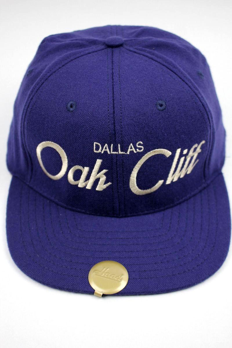 "HOOD HAT / ""Oak Cliff TX"" SNAPBACK CAP / dark blue"